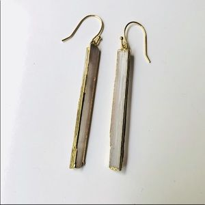 ✨🌟Selenite Stick Gold Dipped Drop Earrings🌟✨